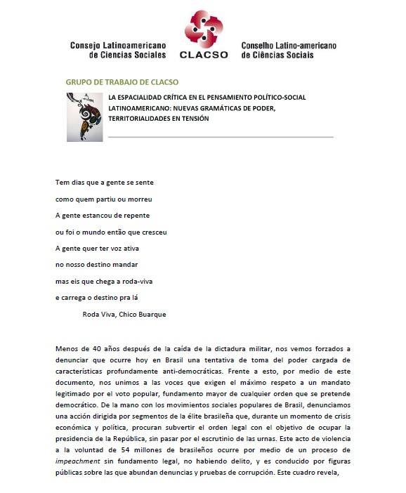 Pronunciamiento CLACSO